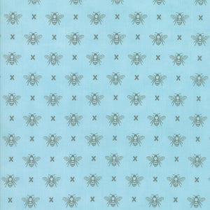 Light Blue Queen Bee Fabric from Garden Variety Collection at Cherry Creek Fabric