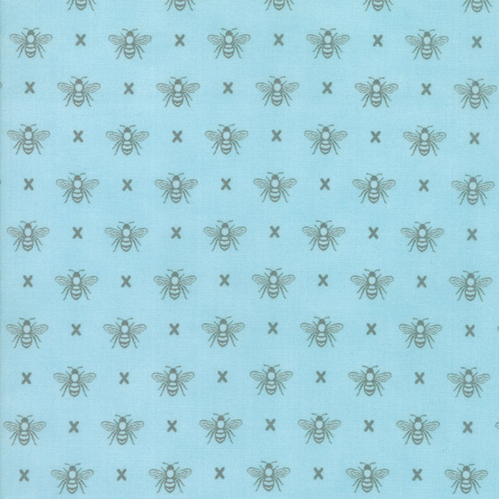 Light Blue Queen Bee Fabric