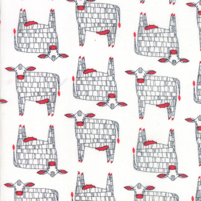White Moo Cow Fabric