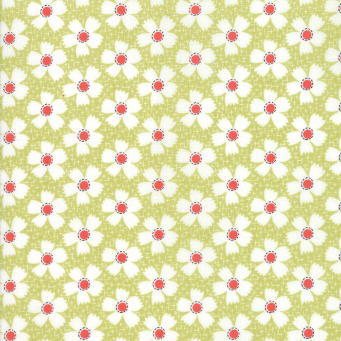 Green Gingham Daisies Fabric