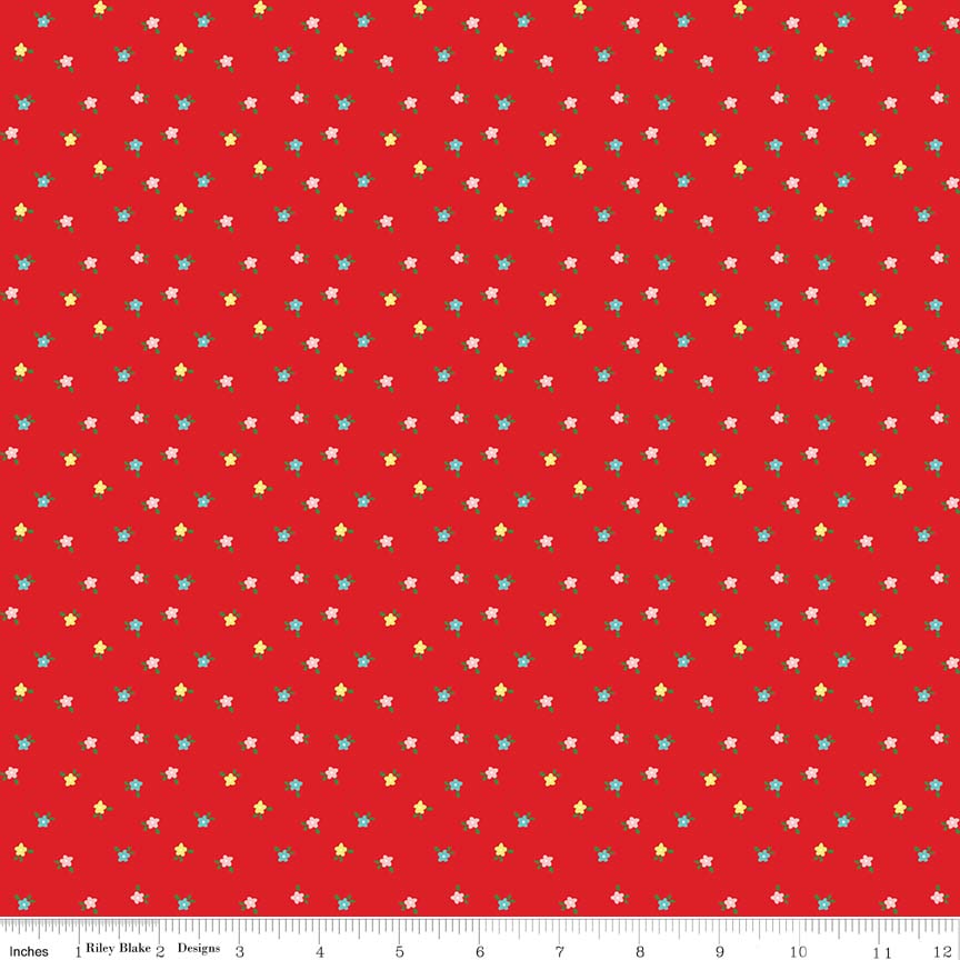 Red Mini Flowers Fabric from Simple Goodness Collection at Cherry Creek Fabric
