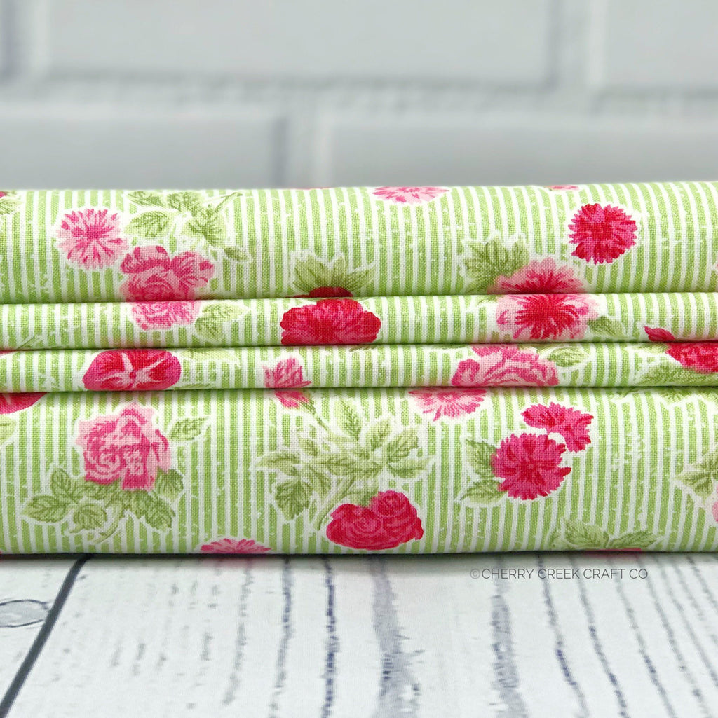 Green Cottage Floral Fabric from Cottontail Cottage Collection at Cherry Creek Fabric