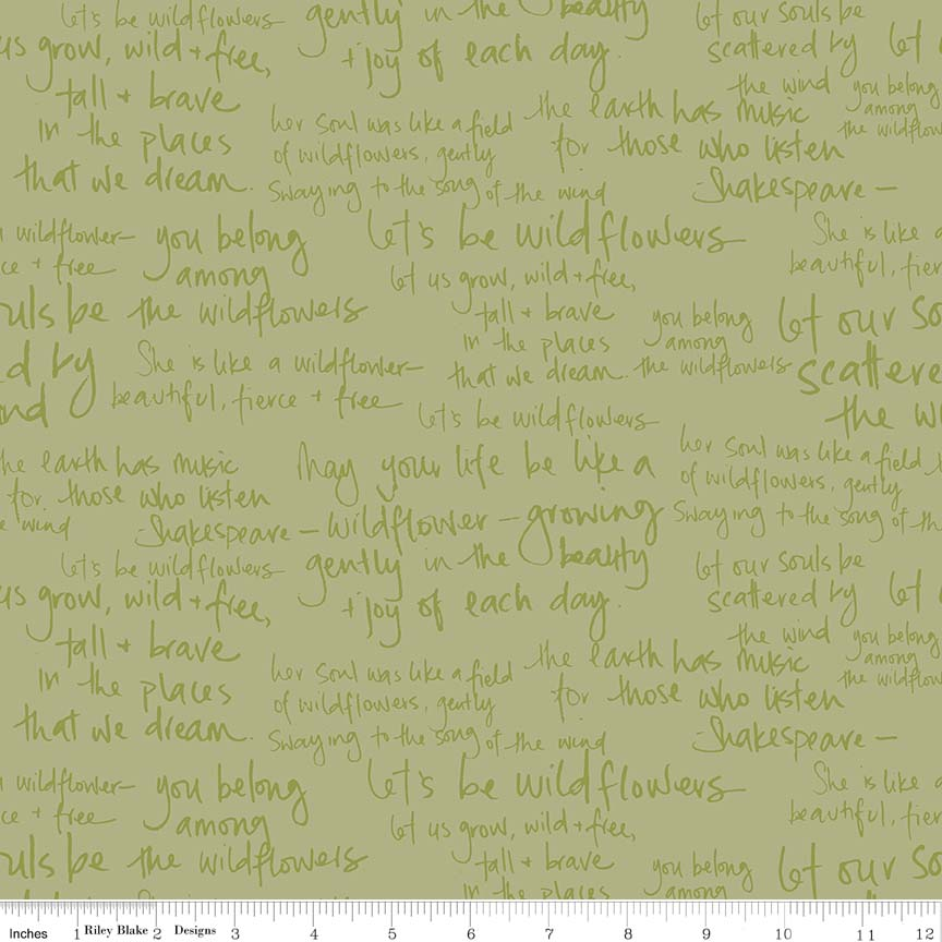 Green Meadow Text Fabric