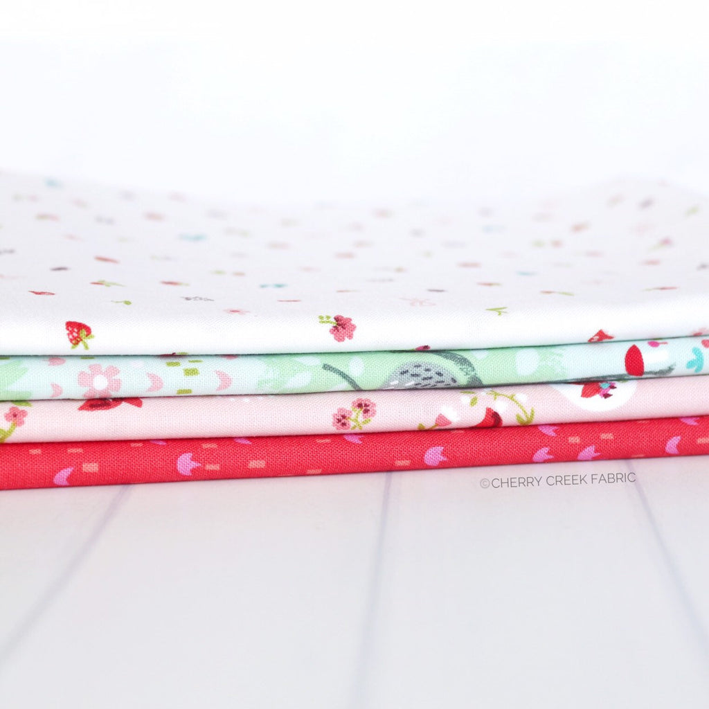 Little Red in the Woods Aqua One Yard Bundle - 4 pieces