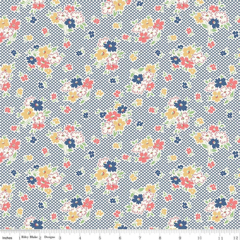 Blue Main Floral Fabric from Farm Girl Vintage Collection at Cherry Creek Fabric