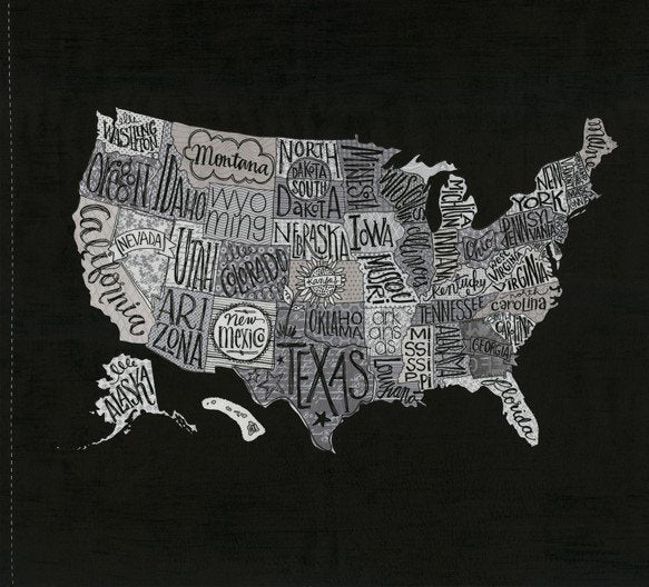 Black US Map Panel Fabric