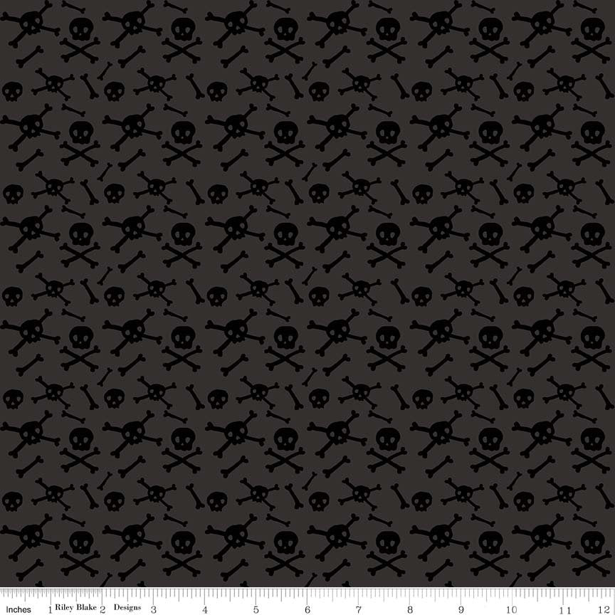 "END OF BOLT 1 yd + 25"" - Cats Bats & Jacks - Charcoal Skulls Fabric - My Minds Eye - Halloween Fabric - Skull Fabric - Bones Fabric from Cherry Creek Fabric & Crafts Collection at Cherry Creek Fabric"