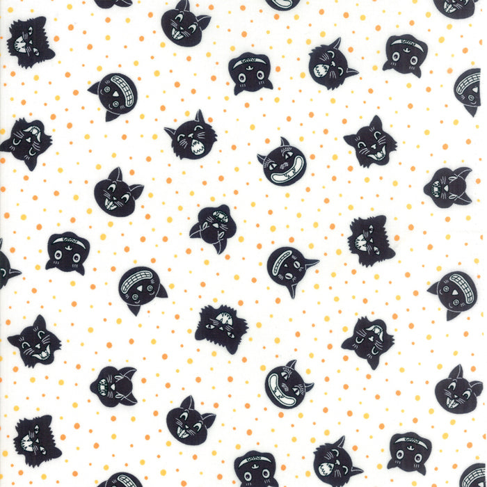 White Dotty Cat Fabric from Dot Dot Boo Collection at Cherry Creek Fabric