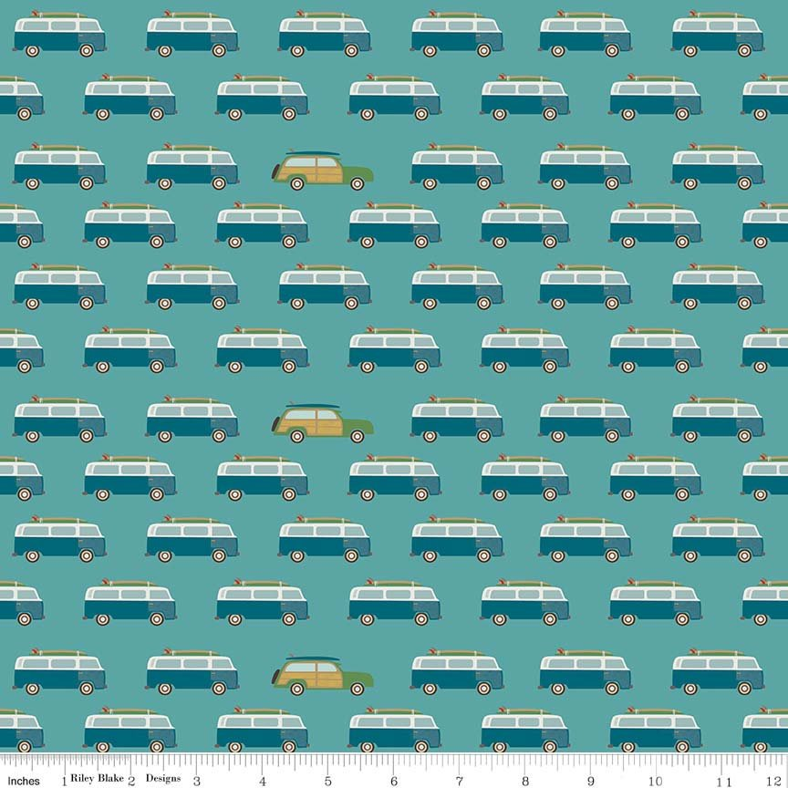 Teal Wagon Fabric from Offshore 2 Collection at Cherry Creek Fabric