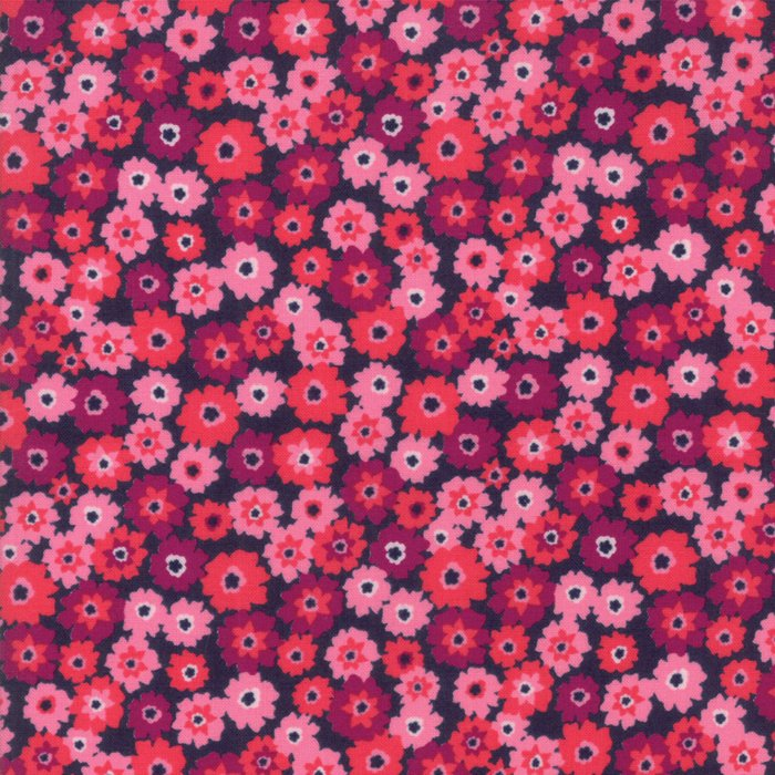 Pink on Navy Flower Tarts Fabric