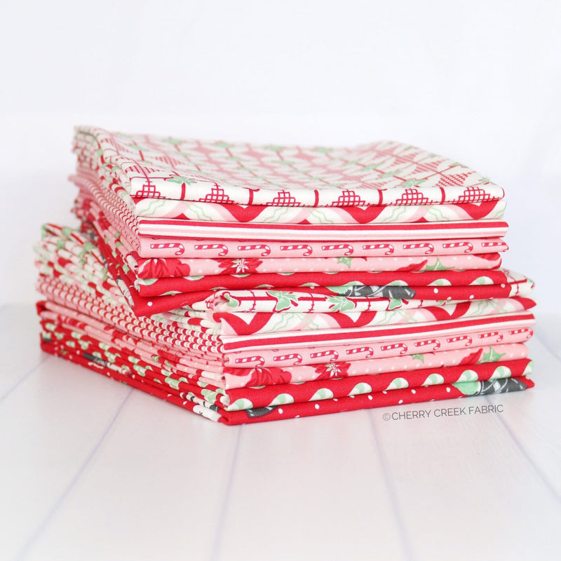Sweet Christmas Red Half Yard Bundle - 7 pieces
