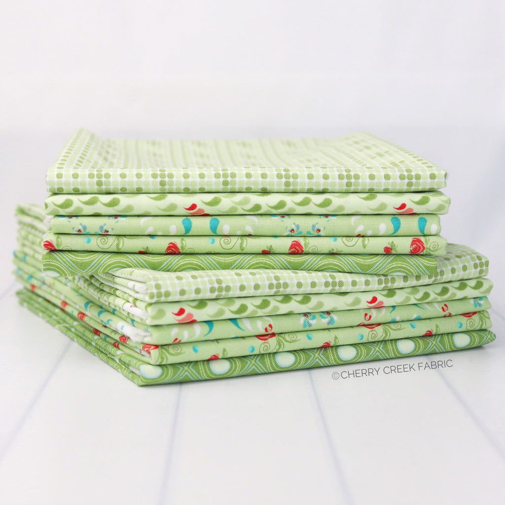 Coledale Green Half Yard Bundle - 5 pieces