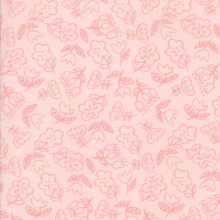 Light Pink Floral Flannel Fabric
