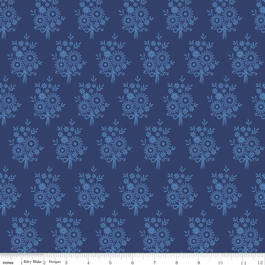 Navy Vintage Stitchery Fabric from Harry & Alice Collection at Cherry Creek Fabric