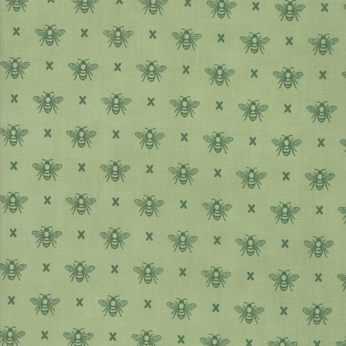 Garden Variety by Lella Boutique | Green Queen Bee Fabric from Garden Variety Collection at Cherry Creek Fabric