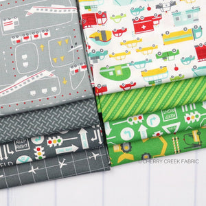 On the Go Green & Grey Fat Quarter - 8 pieces