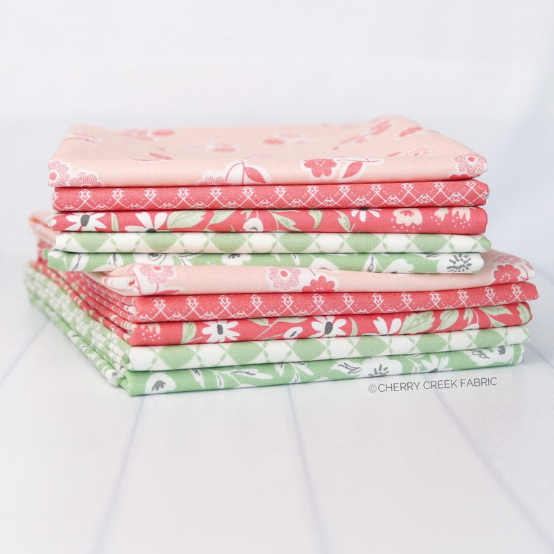 Garden Variety Pink & Green Half Yard Bundle Fabric - 5 pieces