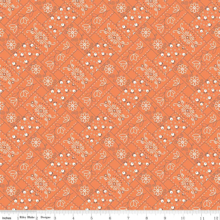 Orange Bandanna Fabric from Farm Girl Vintage Collection at Cherry Creek Fabric