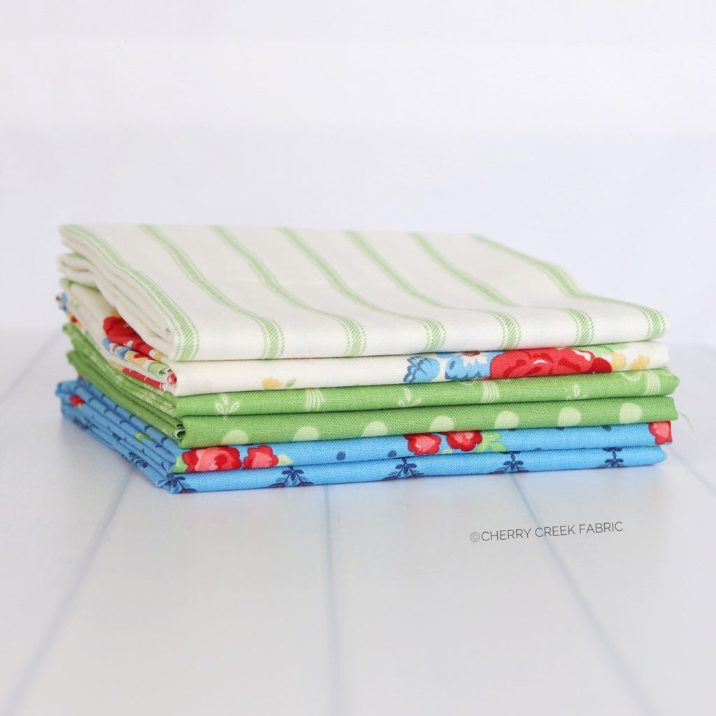 Harry & Alice Green Fat Quarter Bundle - 6 pieces
