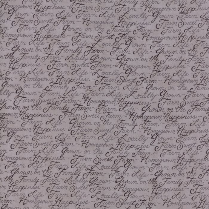"Baryard Grey Farm Life Words FabricEND OF BOLT 2 yds + 26"" from Homegrown Collection at Cherry Creek Fabric"
