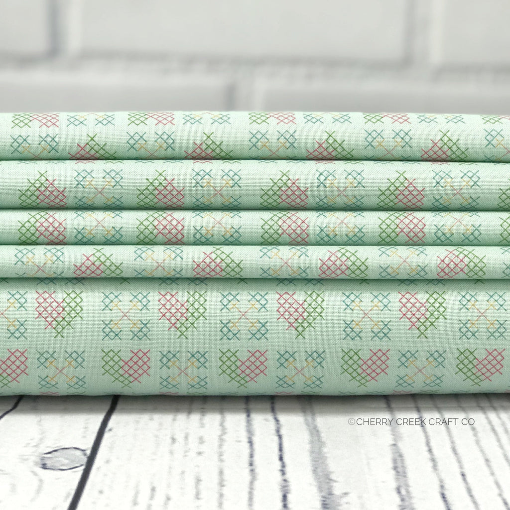 Mint Heart Stitches Fabric from Grandale Collection at Cherry Creek Fabric