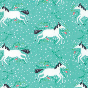 Turquoise Unicorns Galore Fabric from Enchanted Collection at Cherry Creek Fabric
