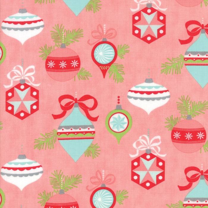 Pink Vintage Ornaments Flannel Fabric from Vintage Holiday Flannel Collection at Cherry Creek Fabric