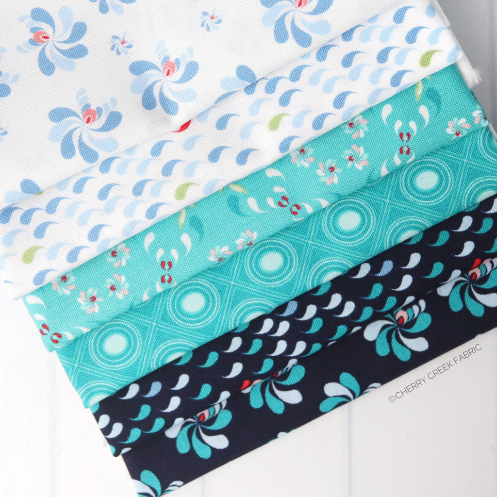 Coledale White/Blue One Yard Bundle - 6 pieces from Coledale Collection at Cherry Creek Fabric