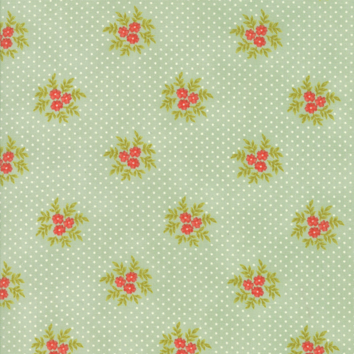 Aqua Floral Posies Fabric</br>END OF BOLT </br>1 yds + 31""