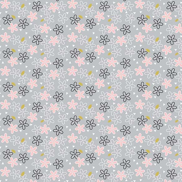 Gray & Pink Daisy Fabric from Believe Collection at Cherry Creek Fabric