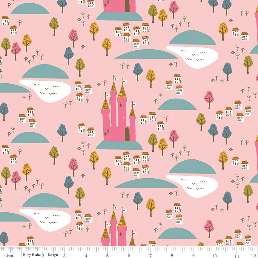 Pink Castle Fabric</br>END OF BOLT </br>2 yds + 21""
