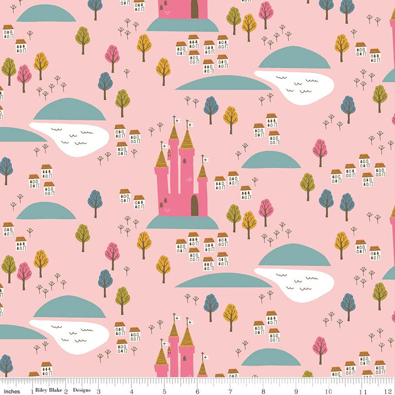 "Pink Castle FabricEND OF BOLT 2 yds + 21"" from Guinevere Collection at Cherry Creek Fabric"