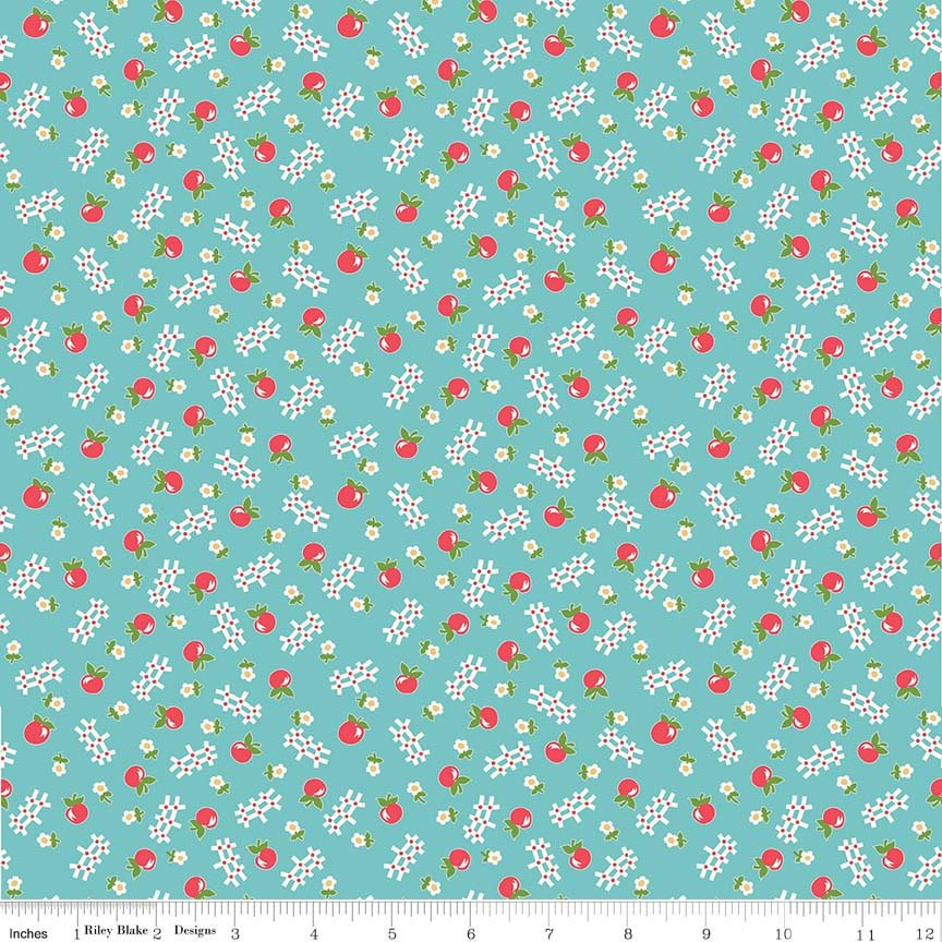 Blue Apple Fabric from Farm Girl Vintage Collection at Cherry Creek Fabric