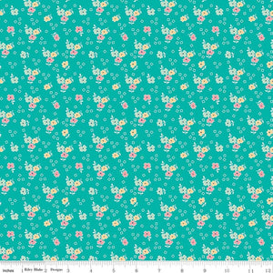 Aqua Flower Fabric from Farm Girl Vintage Collection at Cherry Creek Fabric