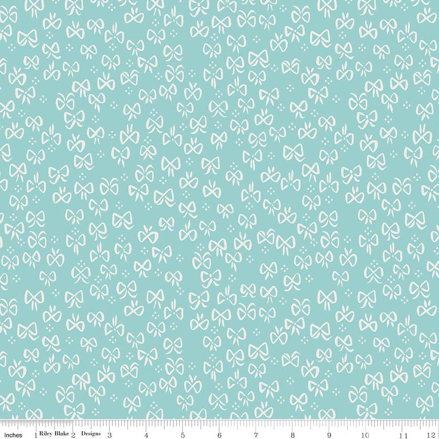 Teal Little Bows Fabric from Little Red in the Woods Collection at Cherry Creek Fabric