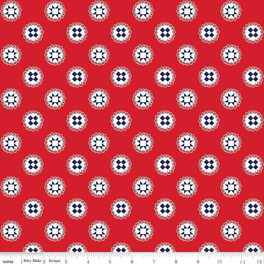 Red Quilt Stars Fabric from Simple Goodness Collection at Cherry Creek Fabric