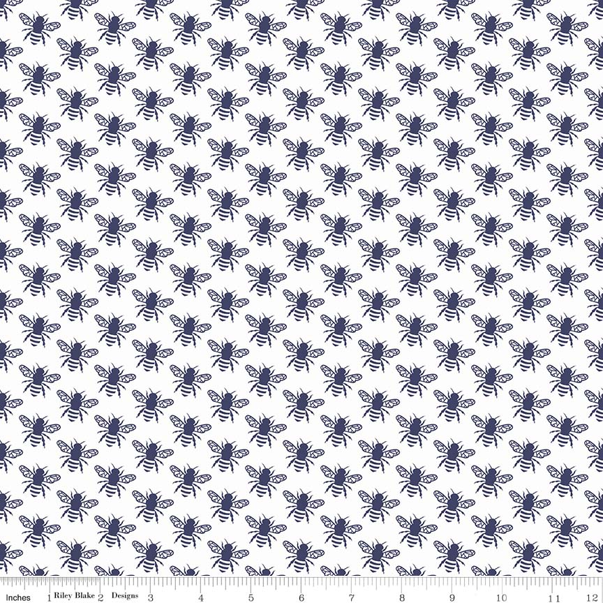 Navy Honey Bee Fabric from In the Meadow Collection at Cherry Creek Fabric