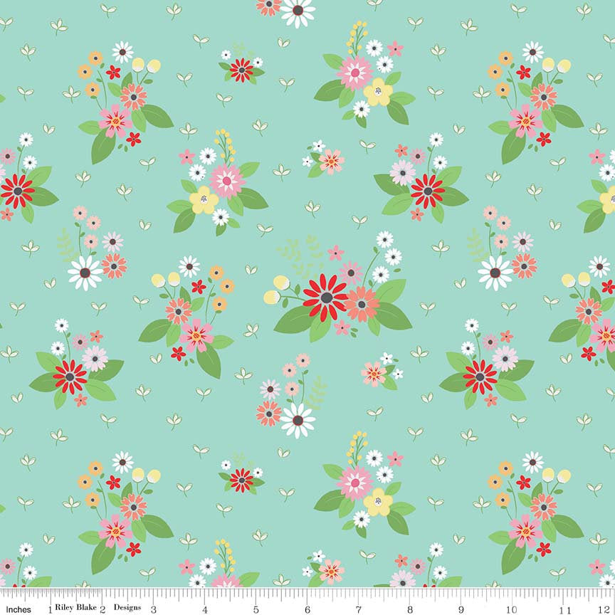 Aqua Floral Bouquet Fabric