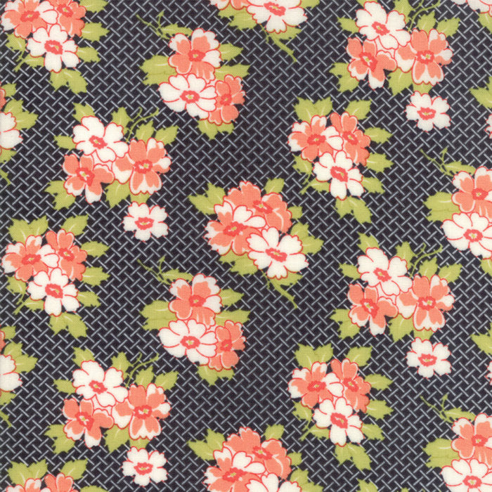 Black Basketweave Posies Fabric