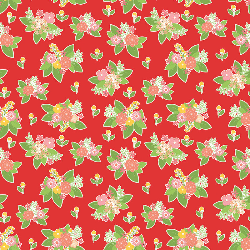 Red Adventure Floral Fabric from Vintage Adventure Collection at Cherry Creek Fabric