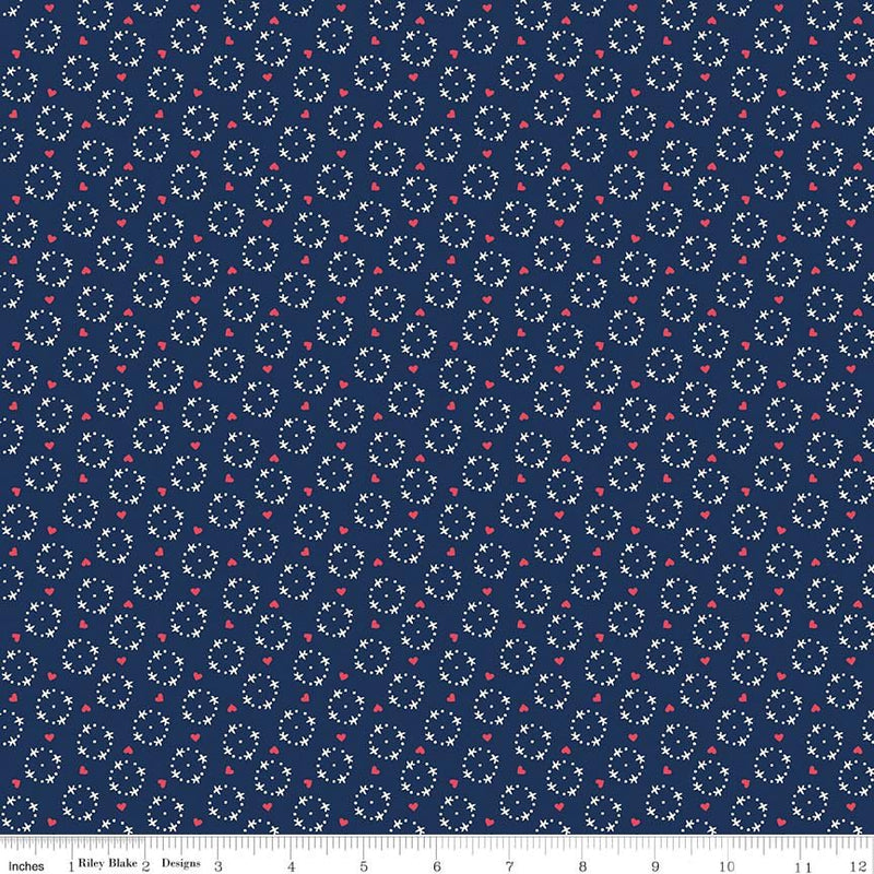 Navy Wreath Fabric