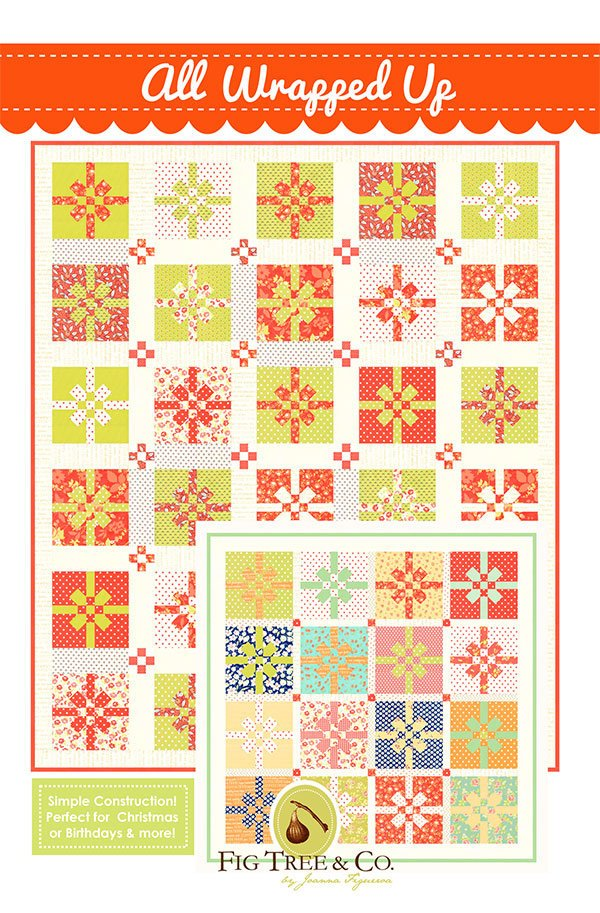 "All Wrapped Up Quilt Pattern - Figtree and Co - Moda Fabric - Quilt Pattern - Christmas Figs Fabric - 61"" x 73"" Quilt"