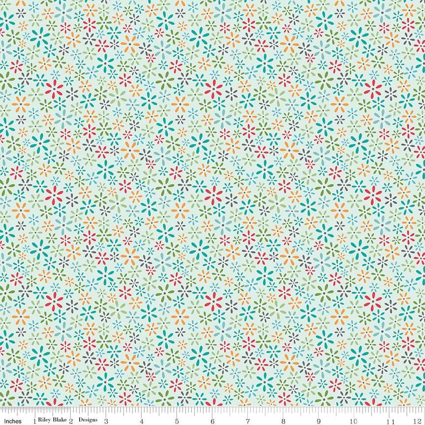 Blue Tiny Floral Fabric