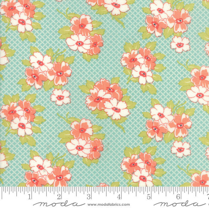 Aqua Basketweave Posies Fabric from Farmhouse II Collection at Cherry Creek Fabric