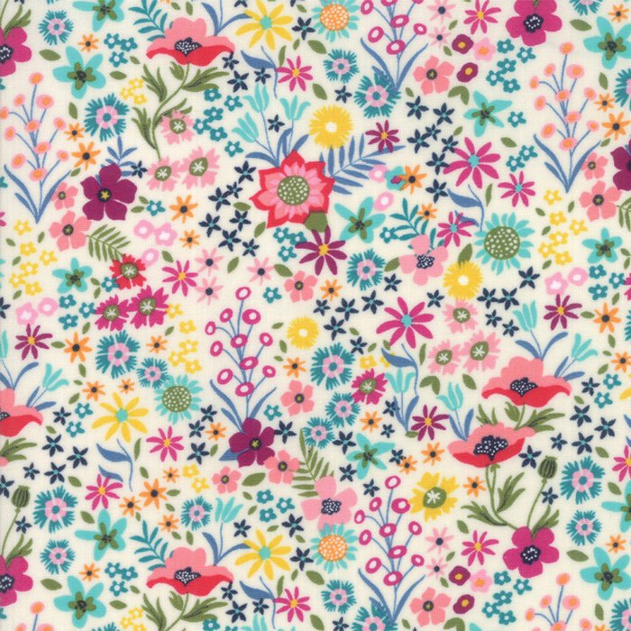 White Flower Patch Fabric