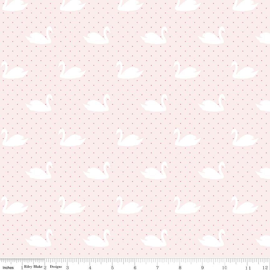 Pink Swans Fabric from Love Story Collection at Cherry Creek Fabric