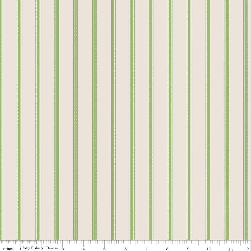 Cream Ticking Stripe Fabric from Harry & Alice Collection at Cherry Creek Fabric
