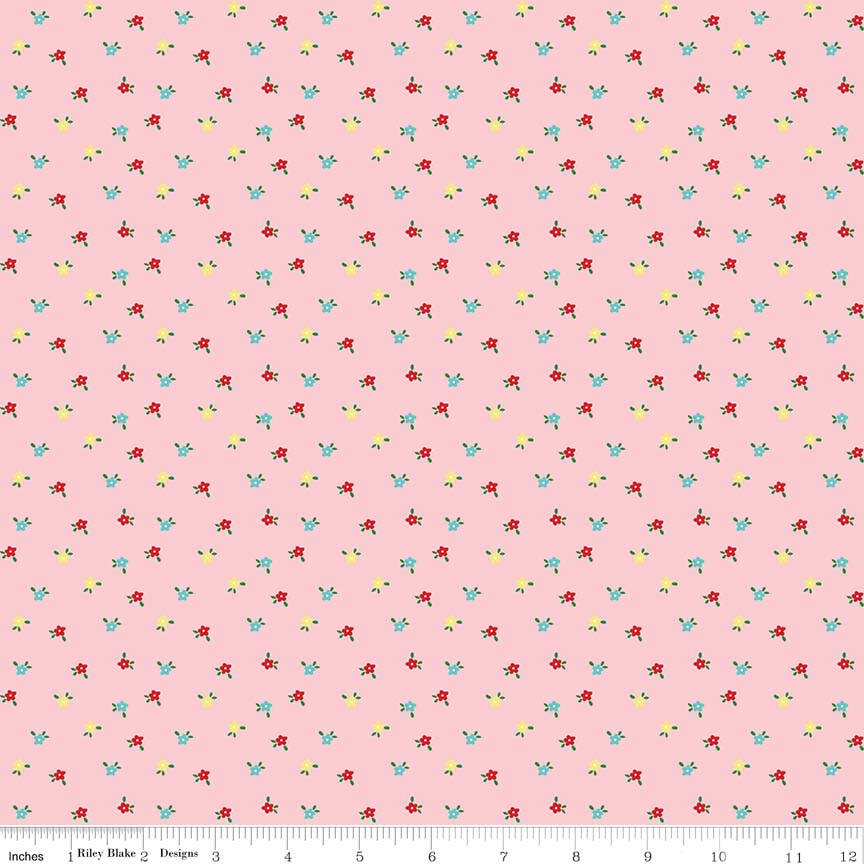 Pink Mini Flowers Fabric from Simple Goodness Collection at Cherry Creek Fabric
