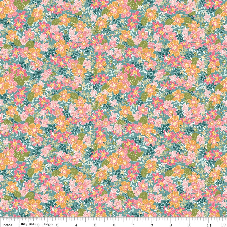 "Teal Floral FabricEND OF BOLT 2 yds + 20"" from Grandale Collection at Cherry Creek Fabric"