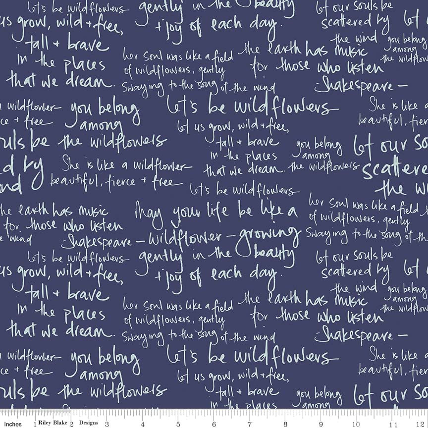 Navy Meadow Text Fabric
